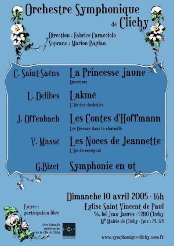 OSC - Concert - 10 Avril 2005 - Saint-Saëns, Delibes, Offenbach, Massé, Bizet
